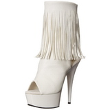 White Matte 15 cm DELIGHT-1019 womens fringe ankle boots high heels