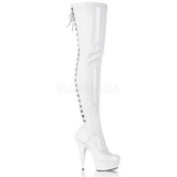 White Patent 15,5 cm DELIGHT-3063 Platform Thigh High Boots
