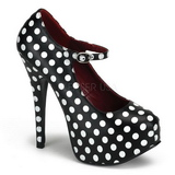 White Points 14,5 cm TEEZE-08 Black Platform Pumps Shoes