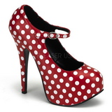 White Points 14,5 cm TEEZE-08 Red Platform Pumps Shoes