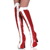 White Red 13 cm ELECTRA-2090 Platform Thigh High Boots