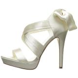 White Satin 12 cm LUMINA-29 High Heeled Evening Sandals