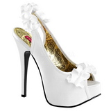 White Satin 14,5 cm TEEZE-56 Platform High Heeled Sandal Shoes
