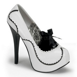 White Shiny 14,5 cm BORDELLO TEEZE-01 Platform Pumps
