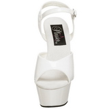 White Shiny 15 cm KISS-209 Platform High Heels Shoes