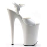 White Shiny 23 cm INFINITY-909 High Heels Platform