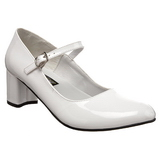 White Shiny 5 cm SCHOOLGIRL-50 Low Heeled Classic Pumps Shoes