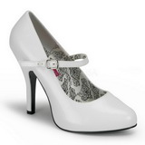 White Varnished 12 cm TEMPT-35 Women Pumps Shoes Flat Heels