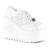 White Vegan 12,5 cm STOMP-08 lolita ankle boots wedge platform