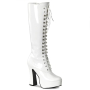 White platform boots lace up patent 13 cm - 70s years hippie disco gogo kneeboots