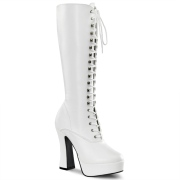 White platform boots lace up vinyl 13 cm - 70s years hippie disco gogo kneeboots