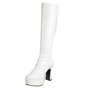 White platform boots patent 13 cm - 70s years hippie disco gogo kneeboots chunky