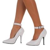 White pumps 13 cm SEDUCE-431 ankle strap high heels pumps