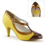 Yellow 8 cm retro vintage PEACH-03 Pinup Pumps Shoes with Low Heels
