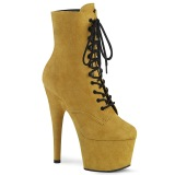 Yellow Leatherette 18 cm ADORE-1020FS lace up ankle boots