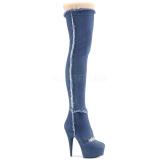 canvas 15 cm DELIGHT-3007 Overknee støvler med høj hæl