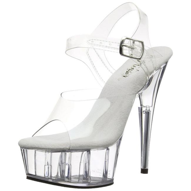 DELIGHT-608 gennemsigtig high heels fra pleaser str 35 - 36