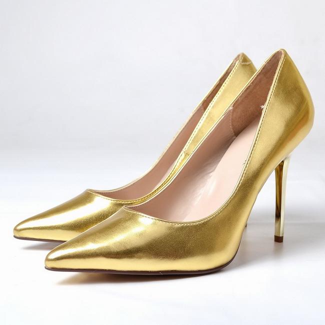 CLASSIQUE-20 guld pumps med høj hæl str 35 - 36