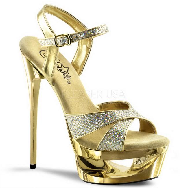 ECLIPSE-619G guld sandaler med høje hæle str 39 - 40