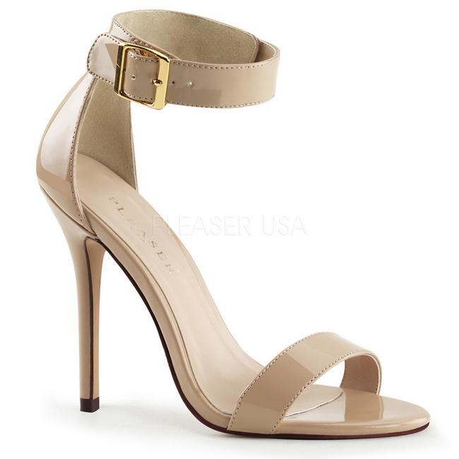 AMUSE-10 beige dame sandaler med hæl str 37 - 38