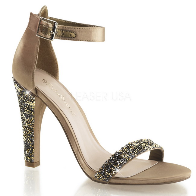 CLEARLY-436 guld fest sandaler med steen str 39 - 40