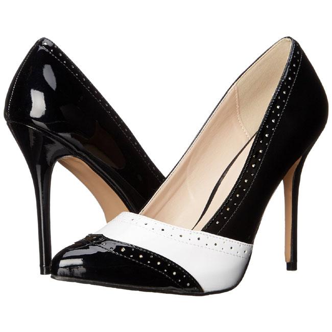 AMUSE-26 sort hvid stiletter sko str 37 - 38