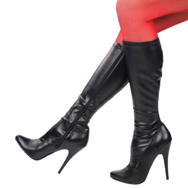 DOMINA-2000 sorte damestøvler med høje hæl str 36 - 37