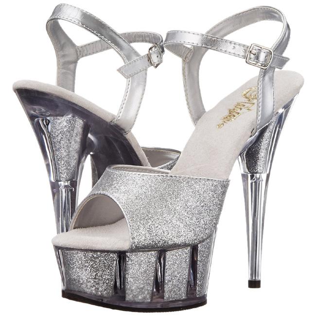 DELIGHT-609 sølve høje hæle store storrelser str 43 - 44
